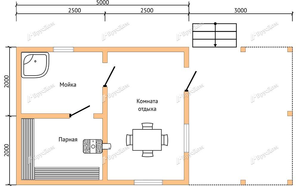 Баня из бруса 4х8 Бажена
