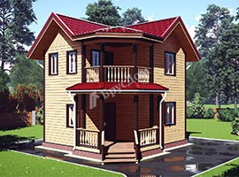Дом из бруса 6.5х6.5 Гедеон