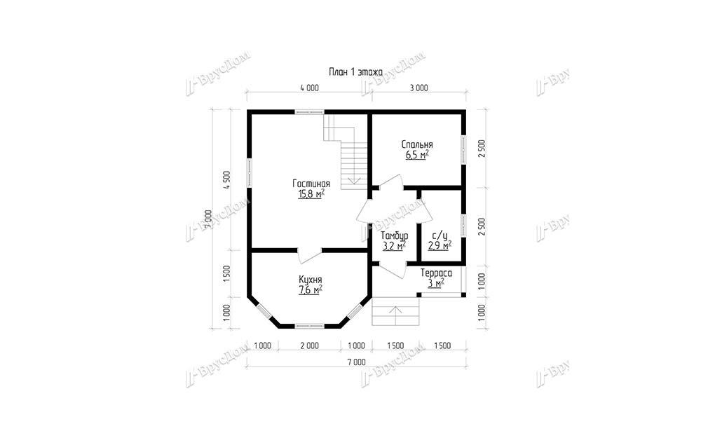 Дом из бруса 7х7 Радимир