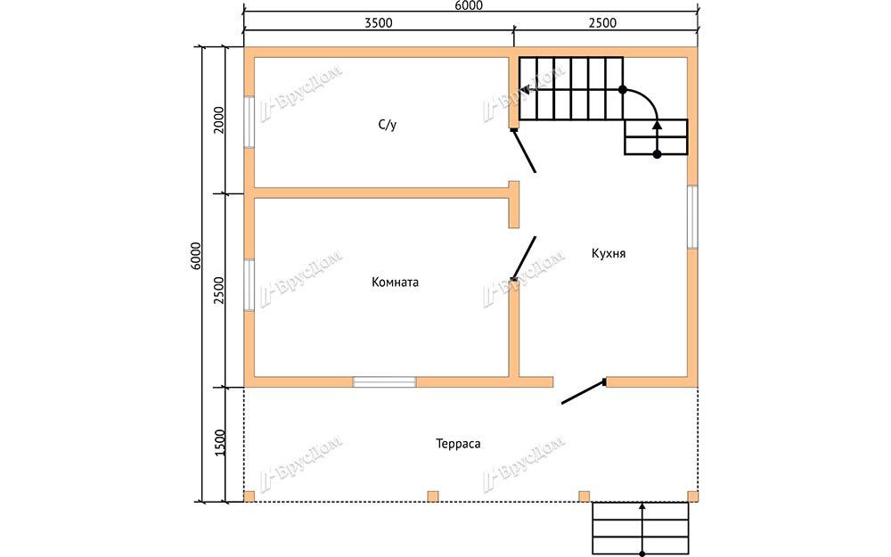 Дом из бруса 6х6 Любодар