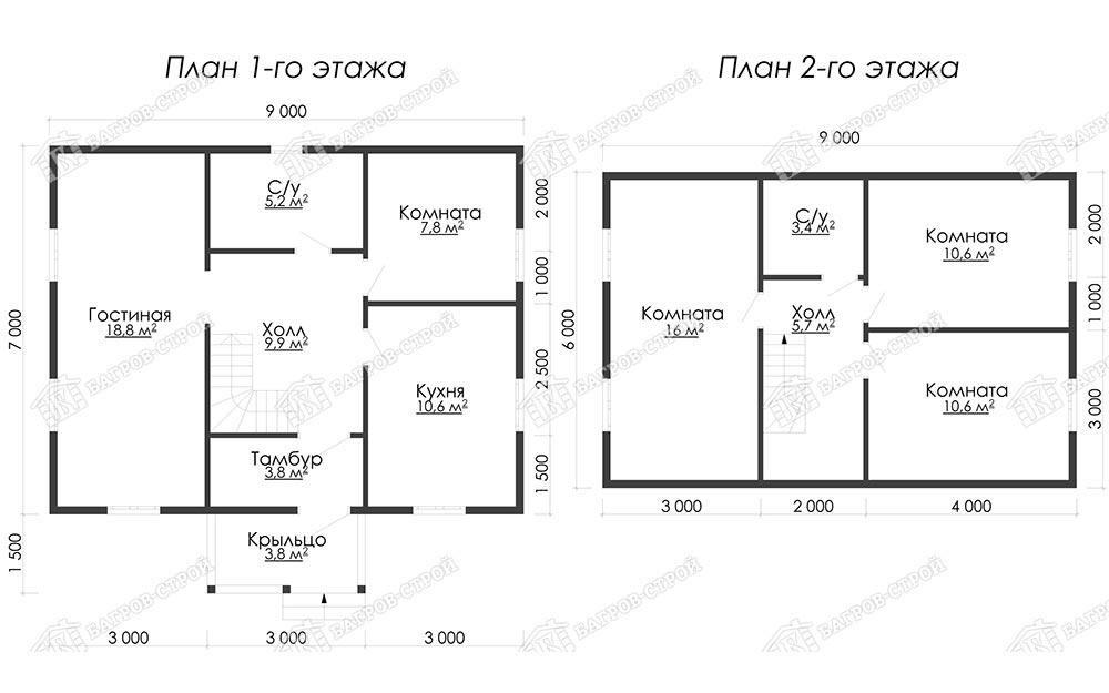Дом из бруса 7х9 Салтан