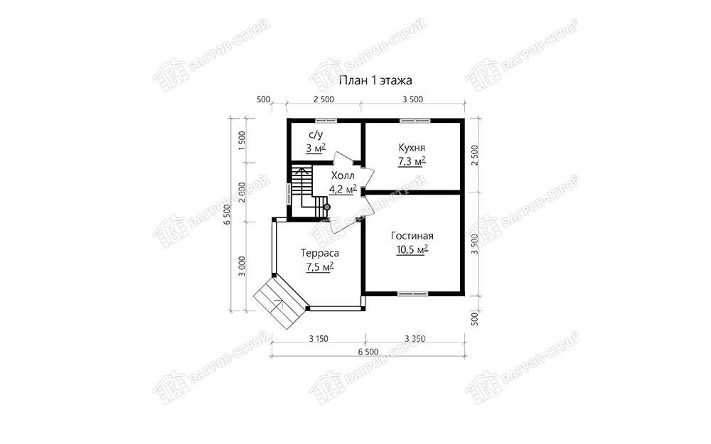 Каркасный дом 8х7.5 Гедеон