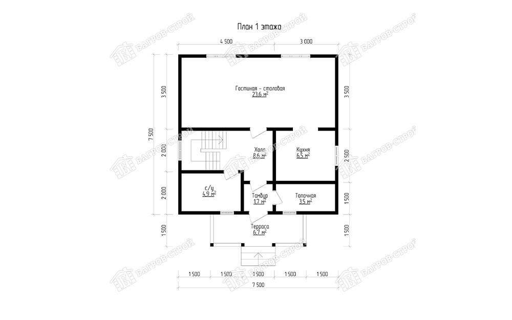 Каркасный дом 7.5х9 Христофор