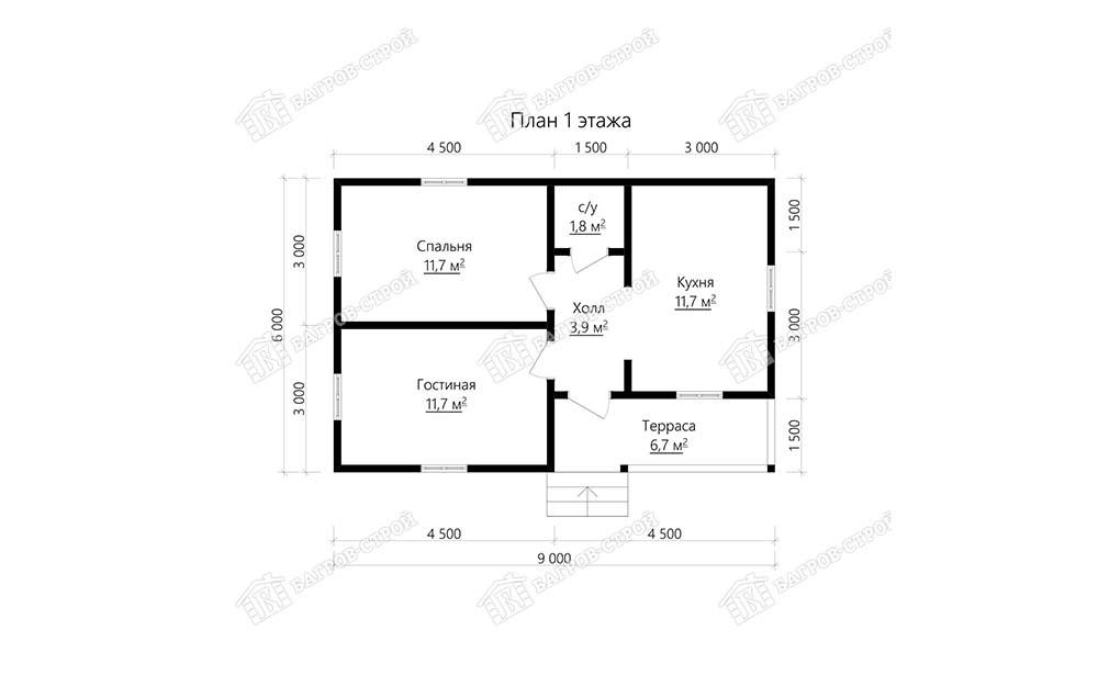 Каркасный дом 6х9 Климент