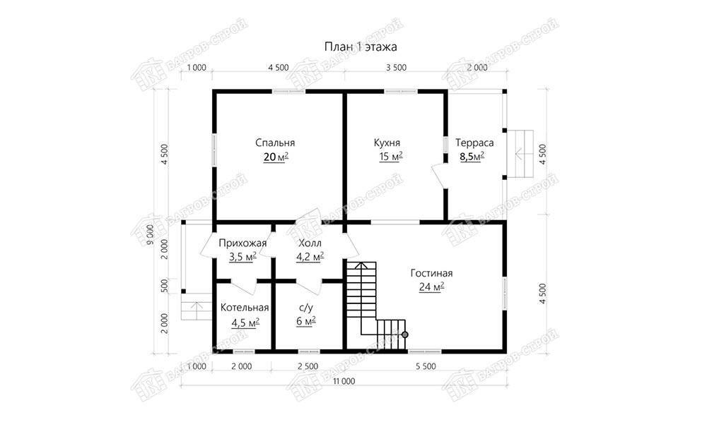 Дом из бруса 9х11 Роман