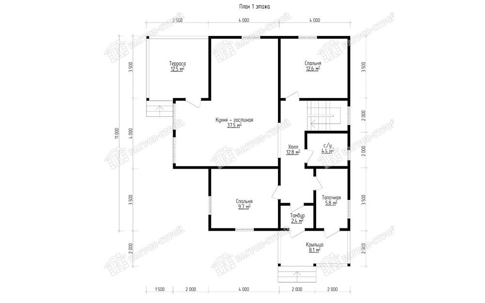 Дом из бруса 10х11 Петр